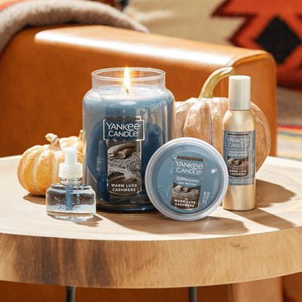 warm luxe cashmere original large jar candle, scentplug refill, scenterpiece easy meltcup, and concentrated room spray