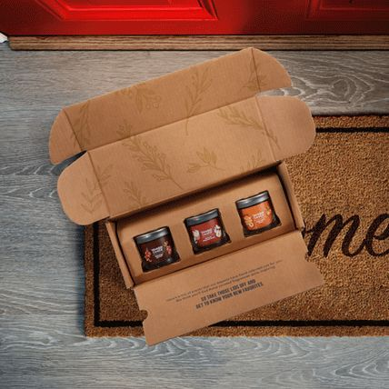fragrance flight box with three signature small tumbler candles
