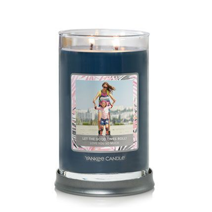 signature large tumbler candle with personalized photo label