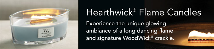 HearthWick® Flame Candles: Experience the unique glowing ambiance of a long dancing flame and signature WoodWick® crackle.