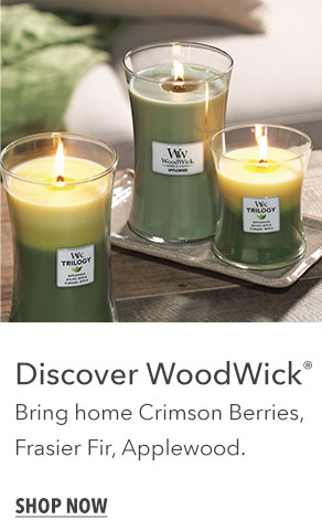 Discover WoodWick: Bring home Crimson Berries, Frasier Fir, and Applewood.