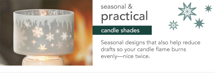Seasonal and Practical Candle Shades: Seasonal designs that also help reduce drafts so your candle flame burns evenly - nice twice.