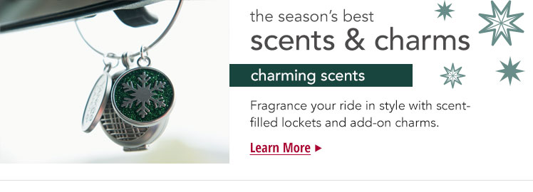 The season's best scents & charms - Charming Scents. Fragrance your ride in style with scent-filled lockets and add-on charms.