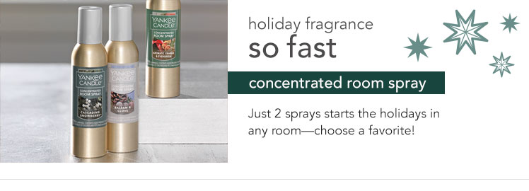 Holiday fragrance so fast - concentrated room spray. Just 2 sprays starts the holidays in any room - choose a favorite!