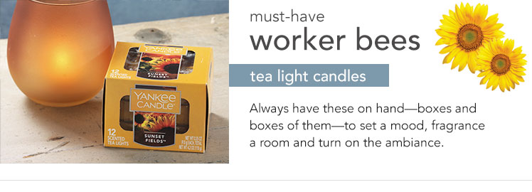Tea Light Candles: Each box of 12 tea light candles are perfect for setting a mood.