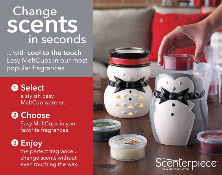Scenterpiece Wax Warmers and Easy Meltcups in popular fragrances