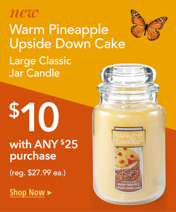 Large Warm Pineapple Upside Down Cake Candle: Only $10 with $25 purchase.
