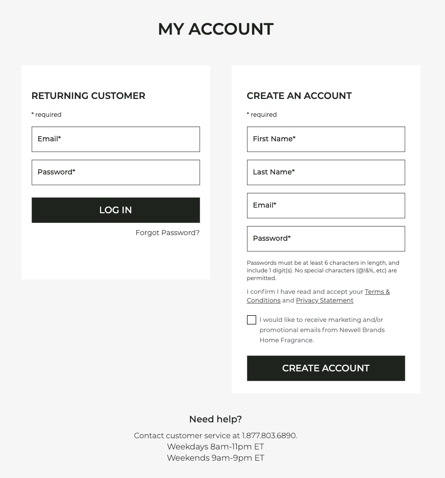 Screen shot of the account registration screen.