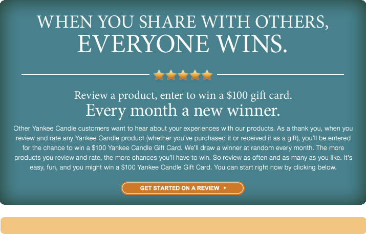 Ratings and Reviews Sweepstakes | Yankee Candle
