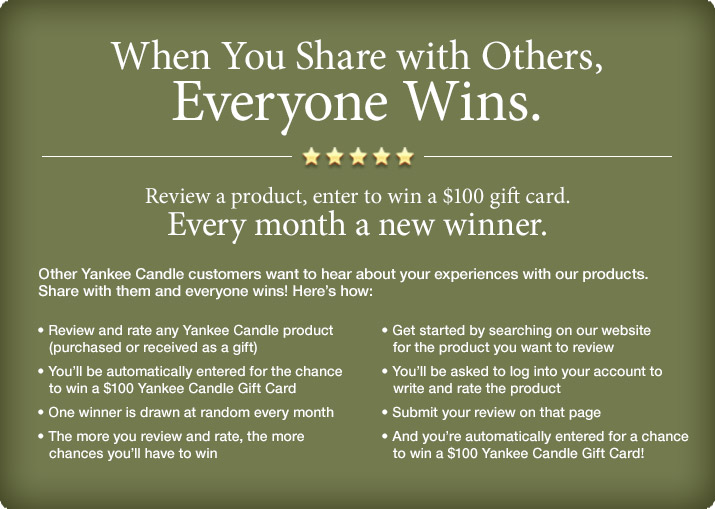 When you share with others, everyone wins. Review a prodict, enter to win a $100 gift card. Every month a new winner