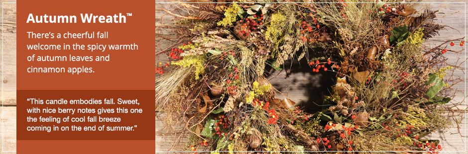 Autumn Wreath™: There's a cheerful fall welcome in the spicy warmth of autumn leaves and cinnamon apples.