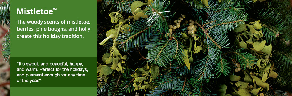 Mistletoe: The woody scents of mistletoe berries, pine boughs, and holly create this holiday tradition.