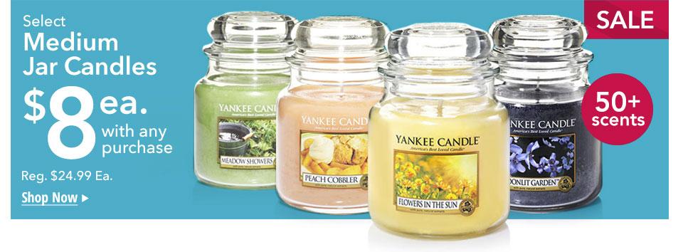 $8 Medium Jar Candles in over 50 fragrances