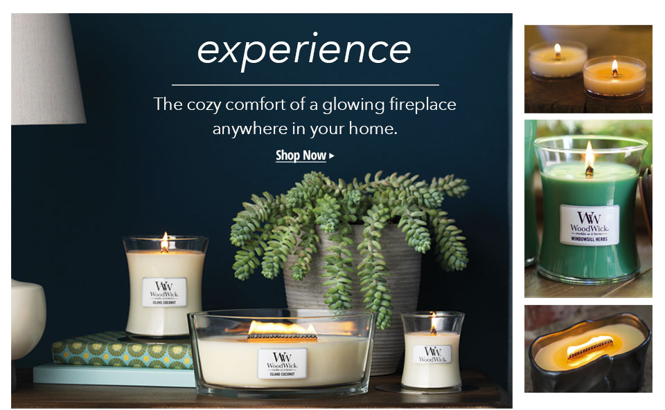 Experience the comfort of a glowing fireplace. Shop Woodwick Candles.