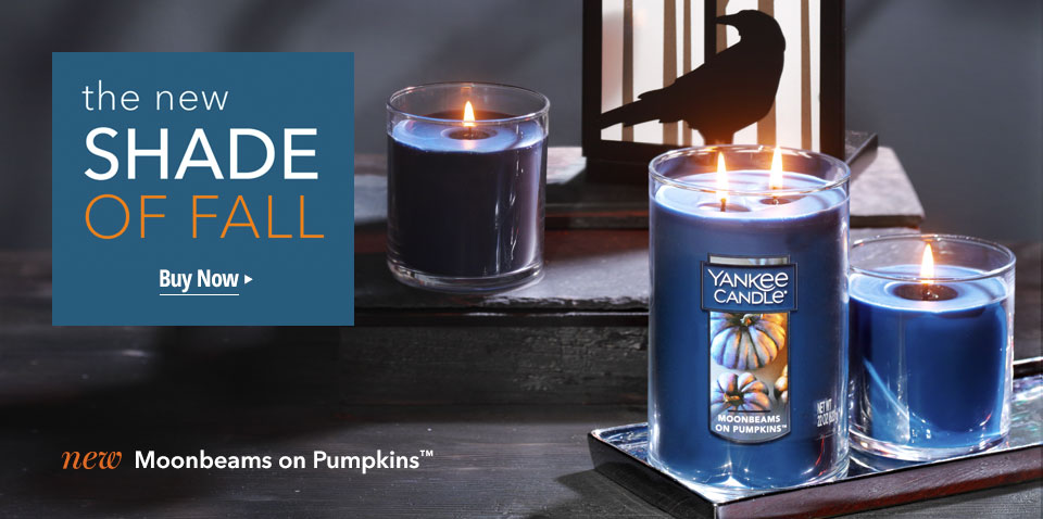 The New Shade of Fall. Shop the new scented candles Moonbeams on Pumpkins.