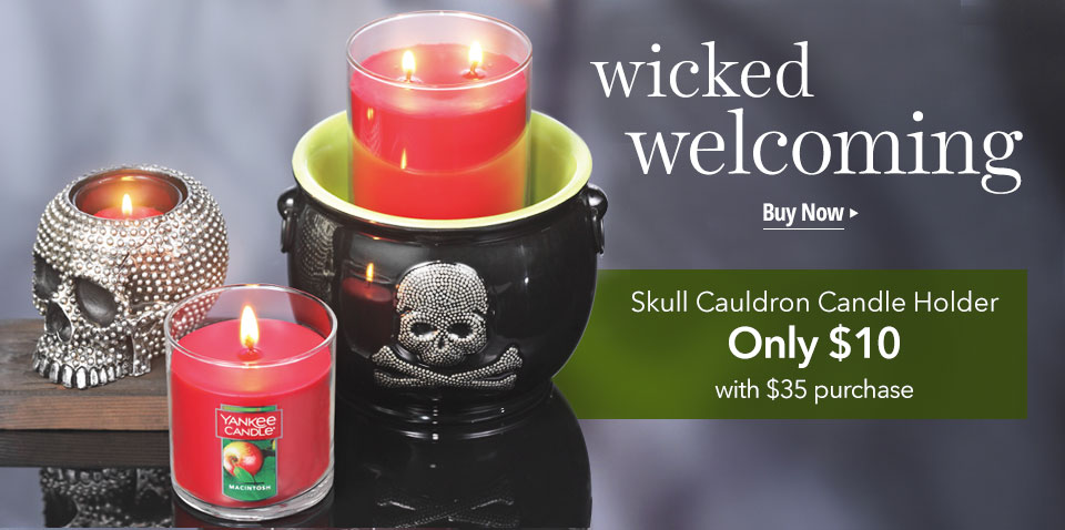 Skull Cauldron Candle Holder: Only $10 with your $35 purchase.