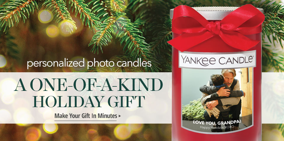 personalized photo candles. A One-of-a-kind Holiday Gift. Make Your Gift In Minutes.