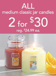 All Medium Classic Jar Candles 2 for $30