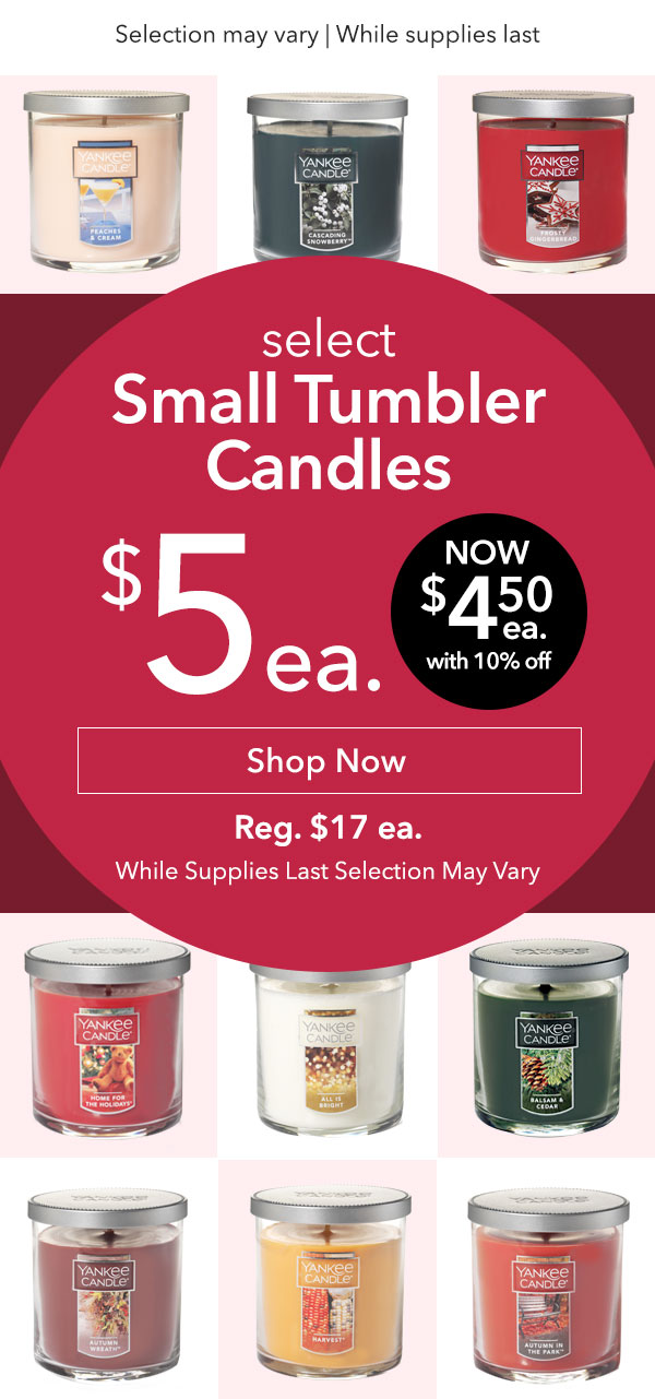 Select Small Tumbler Candles $5 Each
