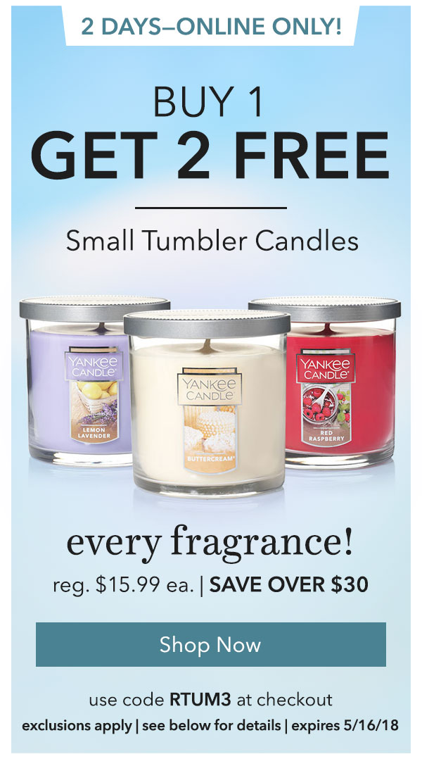 Buy 1, Get 2 FREEâ€â€Small Tumbler Candles