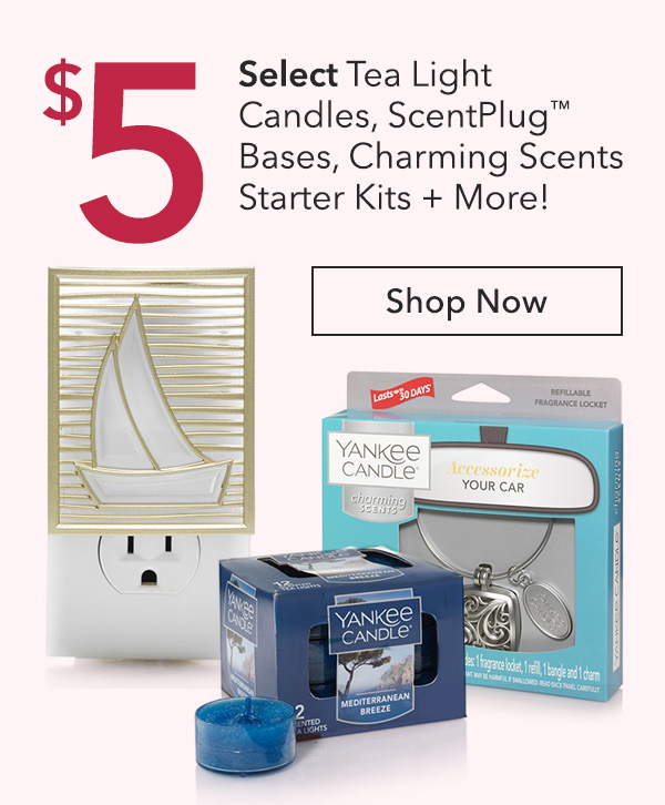 "$5 Select Tea Light Candles, ScentPlugâ""¢ Bases, Charming Scents Starter Kits + More!"