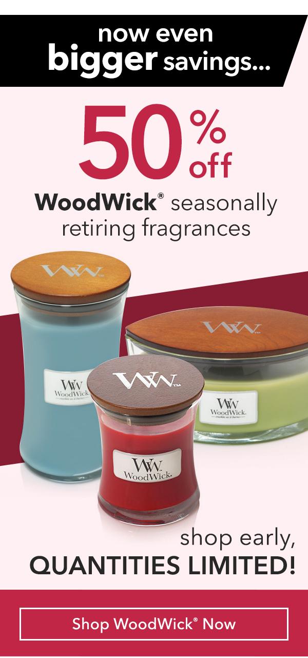 50% Off WoodWick® Seasonally Retiring Fragrances