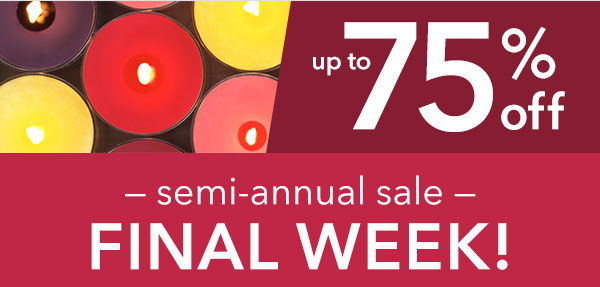 FINAL WEEK - Up to 75% off!