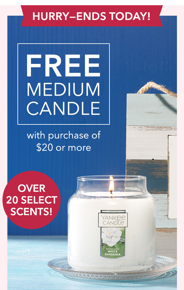 FREE Select Medium Candle with purchase of $20 or more