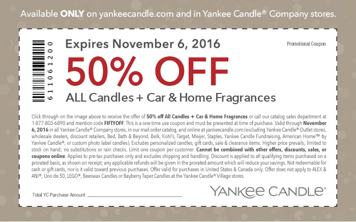 Yankee candle outlet store coupons