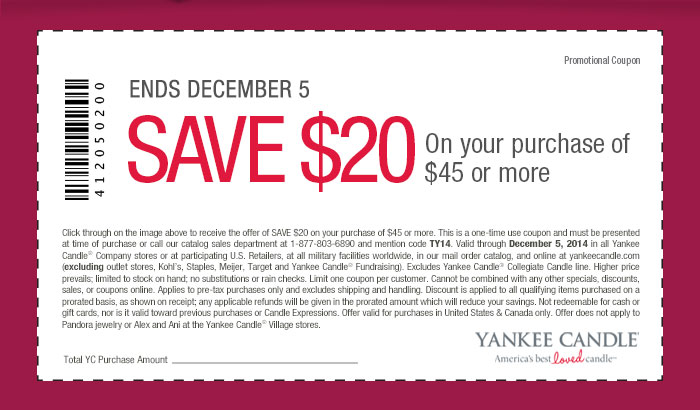 Coupon: SAVE $20 On your purchase of $45 or more