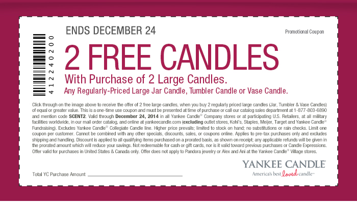 2 FREE CANDLES with purchase of 2 large candles.